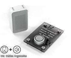 Dørskilt med trådløs ringeklokke - Foldal Stempel AS