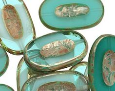 Czech Glass Jade Picasso Carved Oval 26x15mm