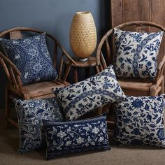 Cheap cushion covers decorative, Buy Quality cushion cover directly from China printed cushion cover Suppliers: Vintage Blue And White Porcelain Printed Cushion Cover Decorative Sofa Throw Pillow Car Chair Home Decor Pillow Case Almofadas Couch Cushions, White Cushions, Sofa Throw Pillows, Printed Cushions, Floral Pillows, Blue Pillows, Blue And White Pillows, Sofa Throw Cover, Blue And White Living Room