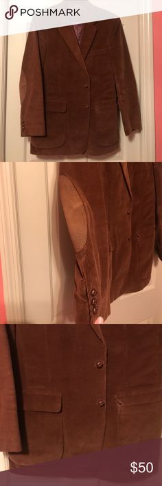 Vintage Joe Namath Men's sports coat Men's dark brown sports coat. Suede material. Has two lower pockets in the front. One pocket up top on the right. Also has an inside pocket on both sides. Has patches on the elbows. Signature collection. Joe Namath Suits & Blazers Sport Coats & Blazers