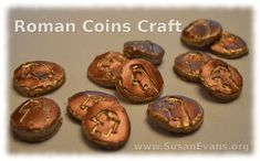 If you are studying Ancient Rome or the time when Christ walked the earth, you can make this Roman coins craft with your children. Rome Activities, History Activities, Teaching History, Teaching Latin, History Class, History Books, Art History, Coin Crafts, Tapestry Of Grace