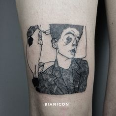 #bianicon #egonschiele #portrait #blackwork #linework #tattoos