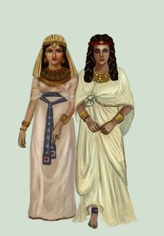 Ancient kalasiris costumes from Egypt. Depict Image