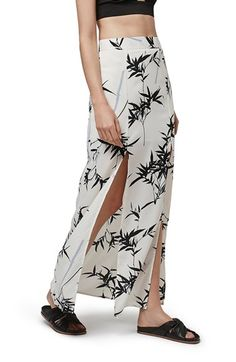 Topshop Leaf Print Split Maxi Skirt