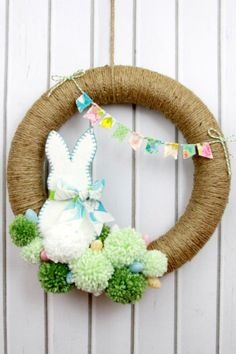 Bunny Pom Pom Wreath - CountryLiving.com