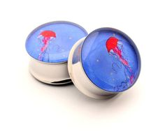 Jellyfish Picture Plugs Style 2 gauges - 00g, 7/16, 1/2, 9/16, 5/8, 3/4, 7/8, 1 inch. $19.99, via Etsy.