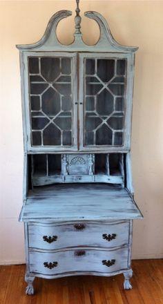 wood shabby chic secretary hutch cabine