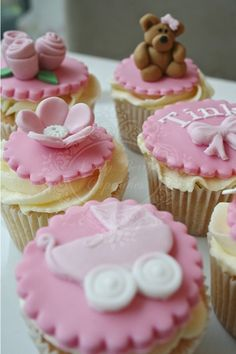 Pink Baby Shower Lady Berry Cupcakes