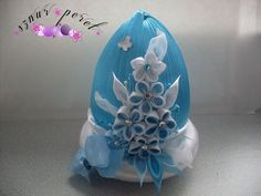 :/i Quilted Ornaments, Fabric Ornaments, Holiday Ornaments, Easter Projects, Easter Crafts, Egg Shell Art, Easter Fabric, Kanzashi Flowers, Plastic Flowers