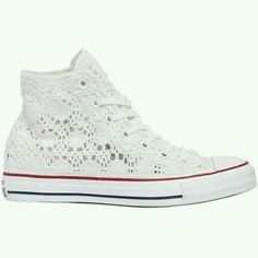 Converse Women Chuck Taylor Crocheted Cotton Sneakers CAD) ❤ so cute! How To Lace Converse, Cute Converse, White Converse Shoes, Converse Sneakers, White Shoes, White Sneakers, Converse Store, Converse High, All Star