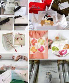 Convites criativos - Outra tendência artesanal! Convites em forma de caixinhas, pergaminhos ou até aquelas dobraduras que fazíamos na infância!