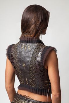 Victorian Corset Vest- Dark Brown [GV82-DK-Brn] - $580.00 : Crystal Tara, Visionary Art T-shirts and Clothing