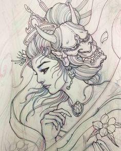 More geisha sketches. Geisha Tattoos, Geisha Tattoo Design, Irezumi Tattoos, Japanese Drawings, Japanese Tattoo Art, Japanese Tattoo Designs, Japanese Sleeve Tattoos, Geisha Kunst, Geisha Art