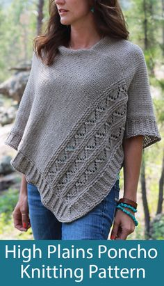 Knitting Pattern for High Plains Poncho - Poncho knit in 2 pieces with zigzag eyelet pattern. 2 sizes available S/M and L/XL with finished measurements laid flat: at widest point, from neckline to hem. Designed by Melissa Schaschwary Free Knitting Patterns For Women, Poncho Knitting Patterns, Crochet Patterns For Beginners, Knit Patterns, Knitted Cape, Knitted Shawls, Sweater Weather, Drops Design, Couture