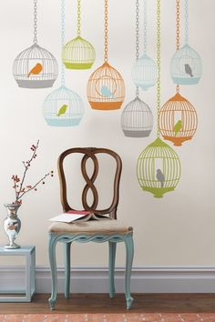 Birdcage wall decals