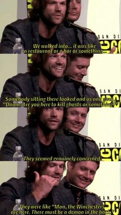 Jared Padalecki (Sam Winchester): We walked into it was like a restaurant or Supernatural Supernatural Bloopers, Supernatural Actors, Supernatural Tattoo, Supernatural Imagines, Supernatural Wallpaper, Supernatural Funny Quotes, Supernatural Panel, Winchester Boys, Winchester Brothers
