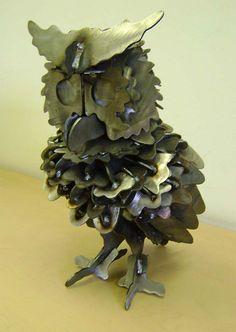 """Metal Art, """"Owl"""" Steel Owl, Metal Owl, Metal Sculpture, Yard art"""