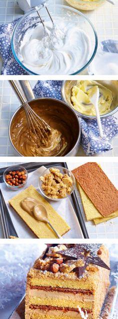 Buche de Noël en pas à pas - Explications Yule Log Cake, Dessert Drinks, Chef Recipes, Homemade Cakes, Deserts, Food Porn, Sweets, Ethnic Recipes, Biscuits