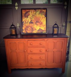 Thrift Store Find Painted with Annie Sloan Barcelona Orange finished with dark wax