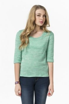 Heather mint 3/4 sleeve sweater