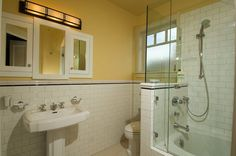 Arts and Crafts Bathroom Tile | Custom built-in vanity mirrors to match Arts and Crafts heritage ...