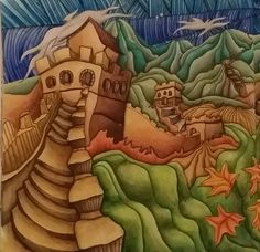 The Magical City Adult Coloring Book Mount Fugi Page Colored By Dayna Brown With Inktense Pencils Activated Water May 2016