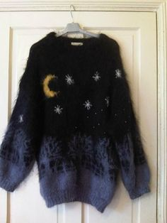1980s/90s Mohair Slouch Sweater/ Jumper- Goth/ Emo/ Grunge- Moon & Stars M | eBay