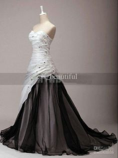 Discount Newest Black And White Dress Sweetheart Chapel Train Organza Wine Taffeta Embroidery Wedding Dresses Debenhams Dresses Lace Wedding Dress From Dress_beautiful, &Price; Wedding Dress Organza, Black Wedding Dresses, Wedding Gowns, Lace Dress, White Dress, Wedding White, Masquerade Wedding Dresses, Black Weddings, Chiffon Dress