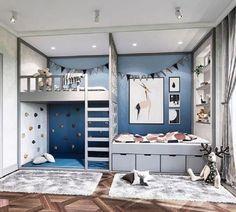 Blue Bedroom, Trendy Bedroom, Bedroom Colors, Girls Bedroom, Bedroom Decor, Bedroom Ideas, Warm Bedroom, Bedroom Storage, Grey Bedrooms
