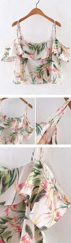 Multicolor Floral Print Ruffle Spaghetti Strap Blouse
