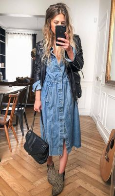 a47eebf726d 30 Comfy Winter Outfits You ll Want to Wear Them. Denim Shirt Dress Outfit Long ...