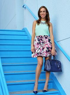floral print skirt with pastel top