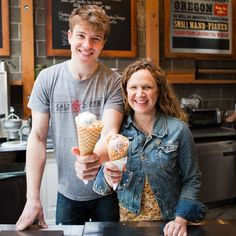 Who: Kim and Tyler Malek - these two are cousins!What: Salt and Straw, artisan ice creamWhere: Portland, Oregon If you live in Portland, you know that Salt & Straw is really popular. What started as a small, hand–pushed ice cream cart has turned into a celebrated community hang out with a constant, gigantic line out the door—all within a year's time. And their list of innovative and ridiculously seasonal flavors is about as long as their ever–present queue of excited customers.