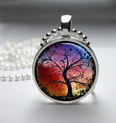 Round Glass Bezel Pendant Tree Pendant Tree by IncrediblyHip, $8.00