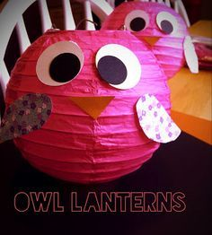 Owl Lanterns- DIY Guide with pictures for making owl lanterns. A must do for Owl themed birthday parties!
