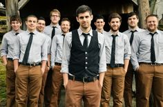 casual grooms in kahki | really actually like this for the men! Little more casual but still ...