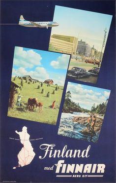 Finland med Finnair Dark Blue Background, Oldenburg, Delft, City Life, Blue Backgrounds, Finland, Vintage Posters, Countryside, Scandinavian