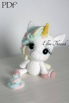 Elfin Thread- Lily Rainbow Cheeks the Chibi Unicorn Amigurumi PDF Pattern (Crochet Unicorn Pattern) - Einhorn - Häkeln Crochet Unicorn Pattern, Crochet Patterns Amigurumi, Knitting Patterns, Crochet Horse, Amigurumi Tutorial, Crochet Animal Patterns, Crochet Amigurumi, Amigurumi Doll, Crochet Dolls