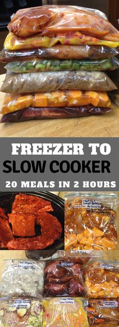 Create easy weeknight dinners with Slow Cooker Freezer Meals. Prep meals ah… Create easy weeknight dinners with Slow Cooker Freezer Meals. Prep meals ah…,Slow cooker Create easy weeknight dinners with Slow Cooker. Slow Cooking, Freezer Cooking, Easy Cooking, Cooking Recipes, Cooking Bacon, Cooking Food, Cooking Light, Meal Prep Freezer, Healthy Cooking
