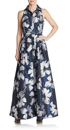 Carmen Marc Valvo   Floral-Print Satin Gown   SAKS OFF