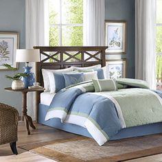 Madison Park America Bethany 7 Piece Comforter Set King Blue >>> ** AMAZON BEST BUY **