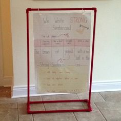 Here is my inspiration - thanks to Pinterest and to those awesome pinners. I've combined your ideas and created my own humble version of a chart stand and anchor chart. (chart stand is made out of PVC pipes and then spray painted)