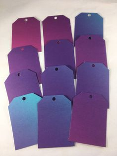 Bright Blue and Purple Tags  set of 12