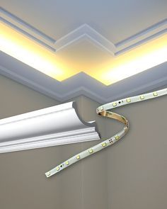 Foseado en falso techo con iluminaci n perimetral reforma - Cornisa para led ...