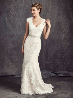 V Neck Cap Sleeve Sheath Lace Wedding Dress with Crystal Ribbon