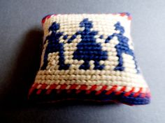 VTG hand made cross stitch sewing in Cushion pillow people kids pattern | eBay