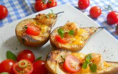 Gruszki grillowane z żółtym serem i krewetkami. Niebo w gębie!