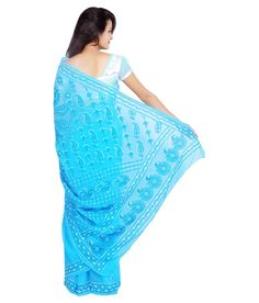 Fashion Beats Blue Faux Georgette Saree Georgette Sarees, Sarees Online, Beats, Festive, Cover Up, Stuff To Buy, Blue, Shopping, Collection