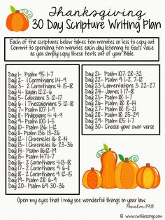 Thanksgiving November monthly plan