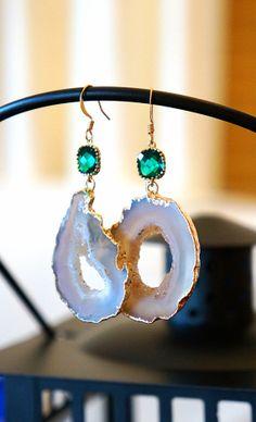 Creamed Pearl Agate Geode Earrings Agate Earrings by VintagePinch, $47.99